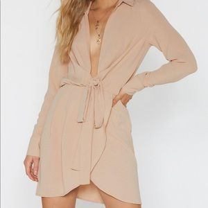 Nasty Gal tie waist shirt dress BNWT B